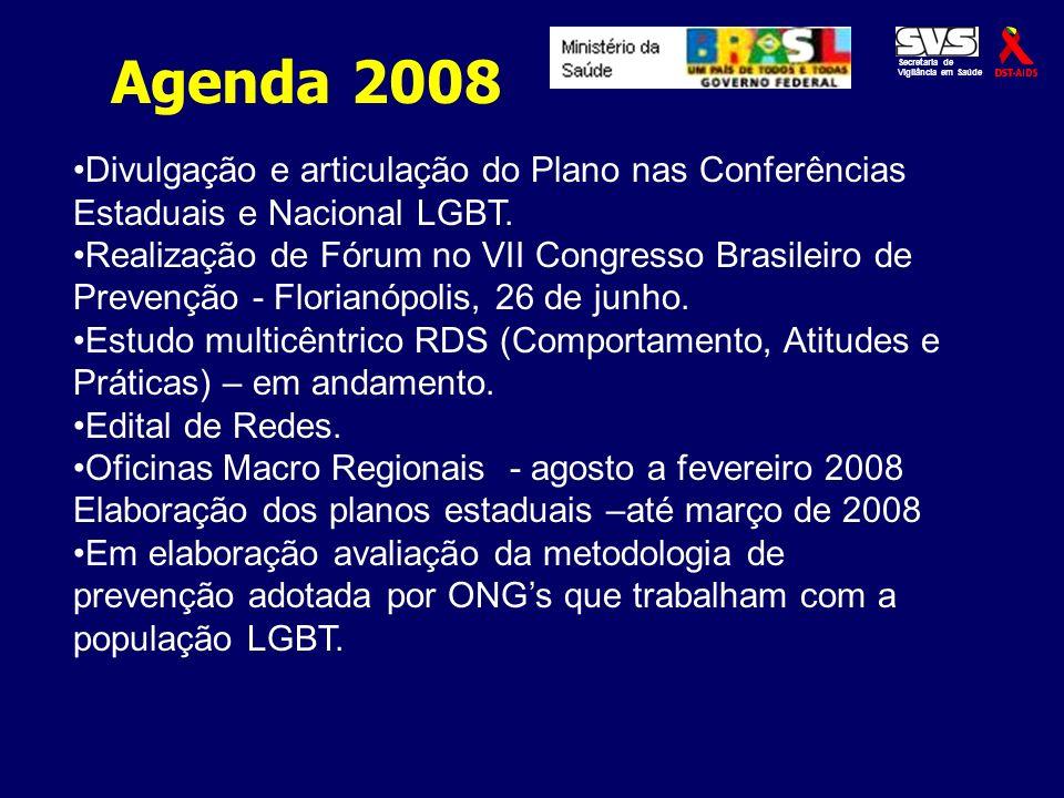 Divulgação e articulação do Plano nas Conferências Estaduais e Nacional LGBT. Realização de Fórum no VII Congresso Brasileiro de Prevenção - Florianóp