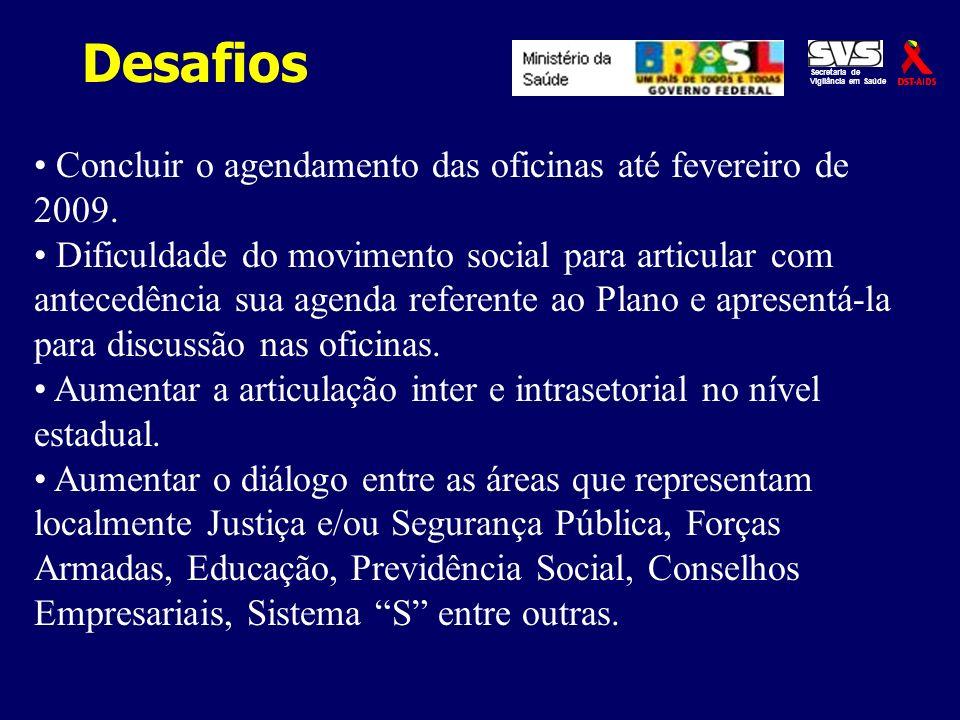 Desafios Secretaria de Vigilância em Saúde Concluir o agendamento das oficinas até fevereiro de 2009. Dificuldade do movimento social para articular c