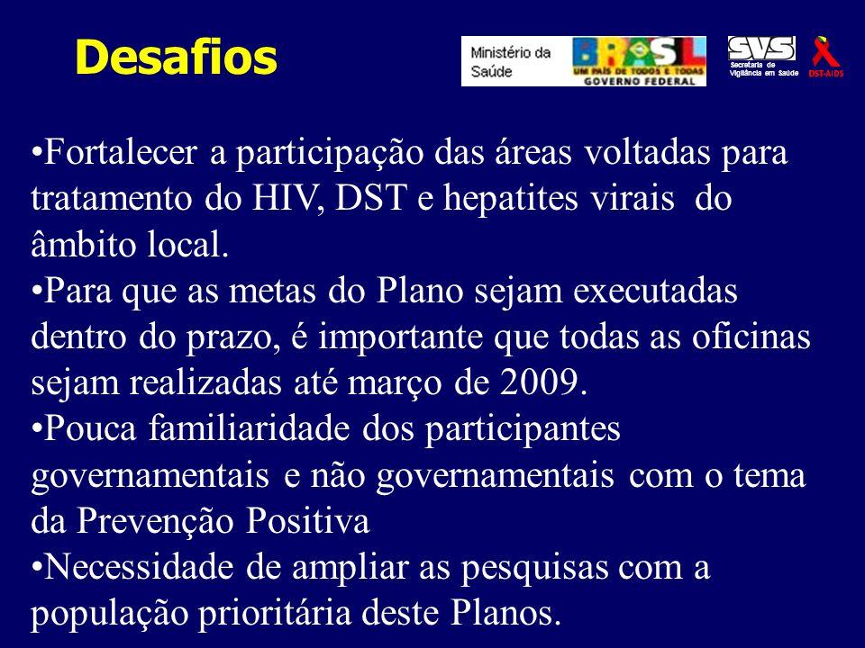 Desafios Secretaria de Vigilância em Saúde Fortalecer a participação das áreas voltadas para tratamento do HIV, DST e hepatites virais do âmbito local