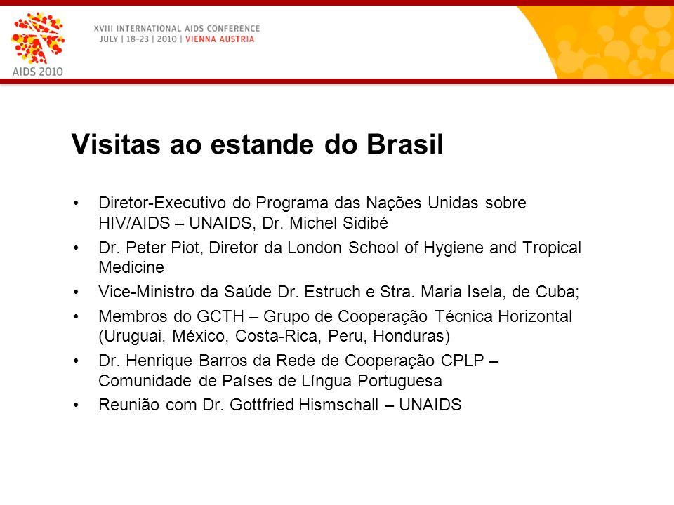 Visitas ao estande do Brasil Diretor-Executivo do Programa das Nações Unidas sobre HIV/AIDS – UNAIDS, Dr.