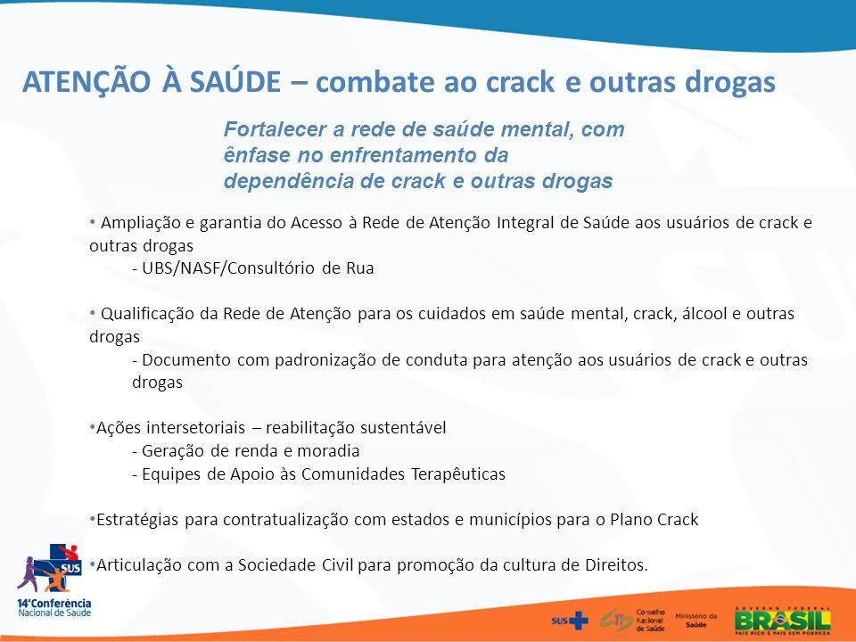 ATENÇÃO À SAÚDE – combate ao crack e outras drogas Fortalecer a rede de saúde mental, com ênfase no enfrentamento da dependência de crack e outras dro
