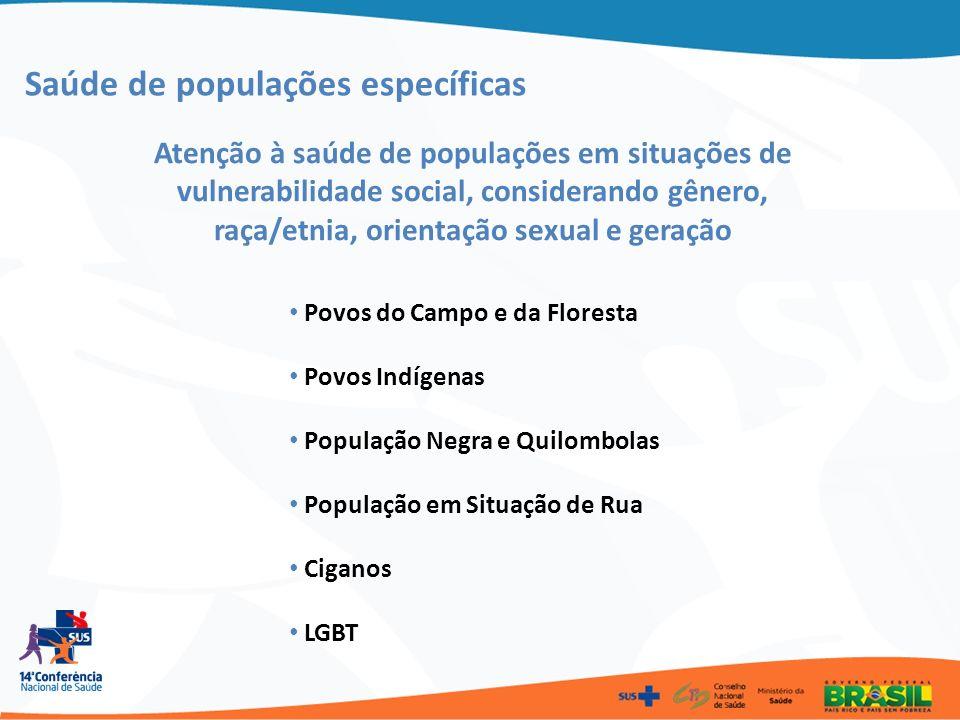 Saúde de populações específicas Atenção à saúde de populações em situações de vulnerabilidade social, considerando gênero, raça/etnia, orientação sexu