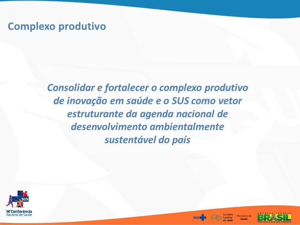 Complexo produtivo Consolidar e fortalecer o complexo produtivo de inovação em saúde e o SUS como vetor estruturante da agenda nacional de desenvolvim