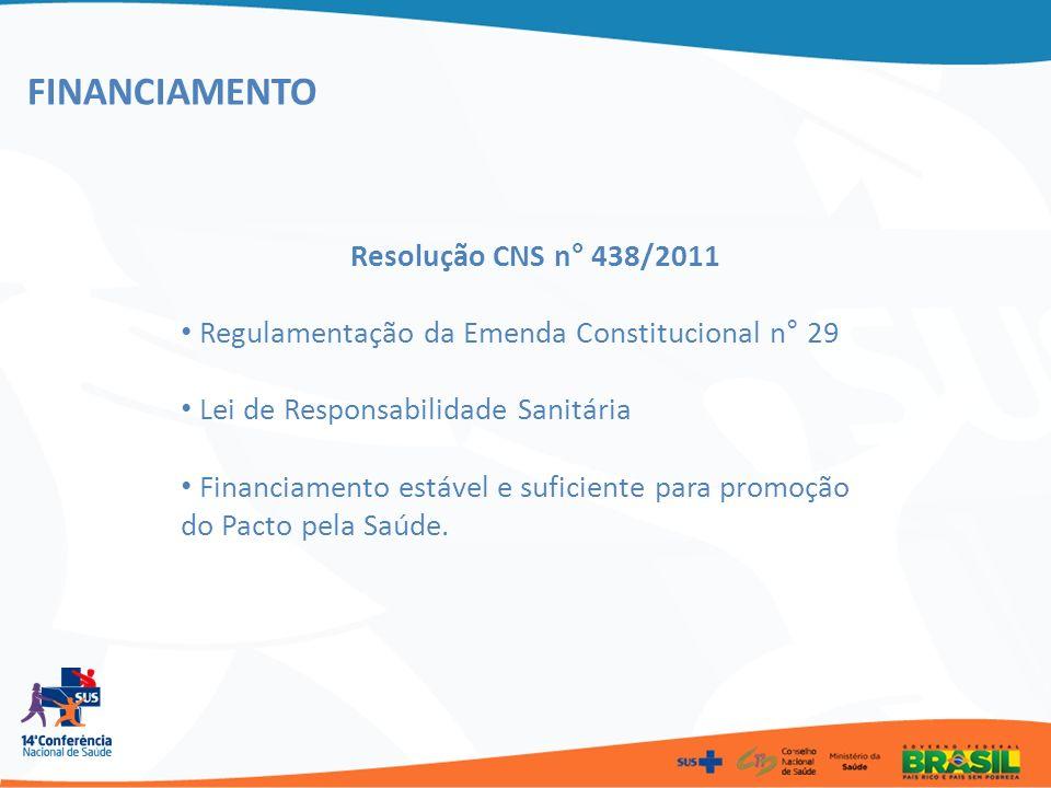 FINANCIAMENTO Resolução CNS n° 438/2011 Regulamentação da Emenda Constitucional n° 29 Lei de Responsabilidade Sanitária Financiamento estável e sufici
