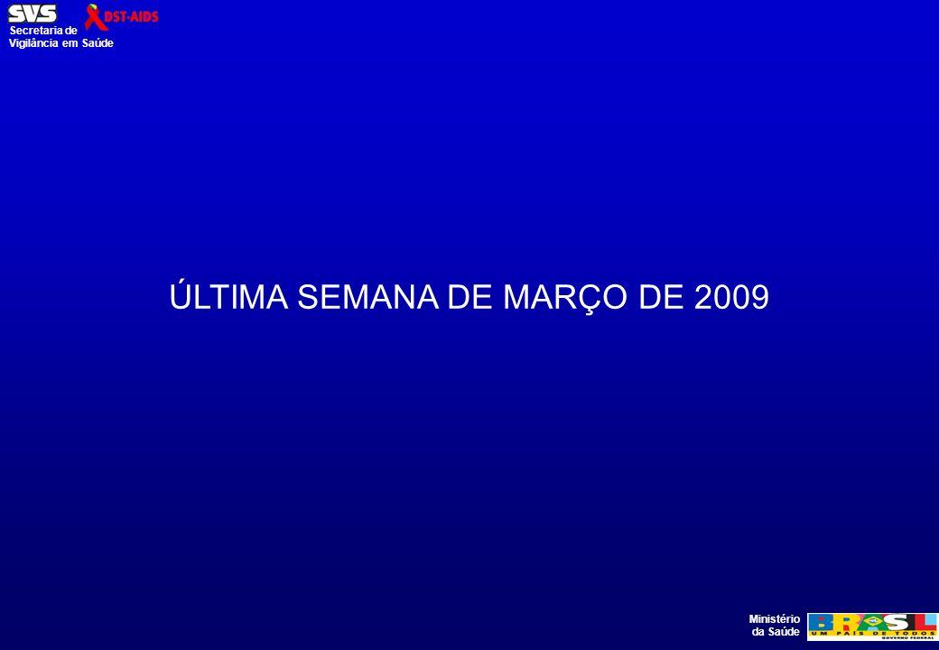 Ministério da Saúde Secretaria de Vigilância em Saúde ÚLTIMA SEMANA DE MARÇO DE 2009