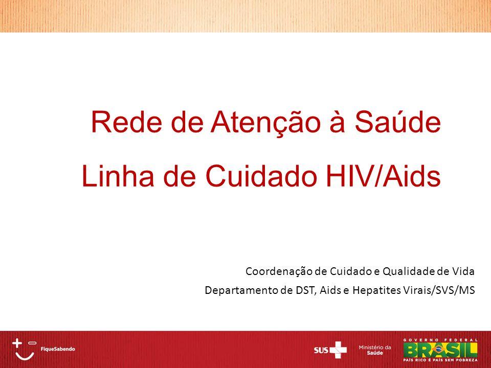 Coordenação de Cuidado e Qualidade de Vida Departamento de DST, Aids e Hepatites Virais/SVS/MS Rede de Atenção à Saúde Linha de Cuidado HIV/Aids