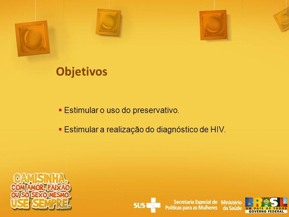 Estimular o uso do preservativo. Estimular a realização do diagnóstico de HIV. Objetivos