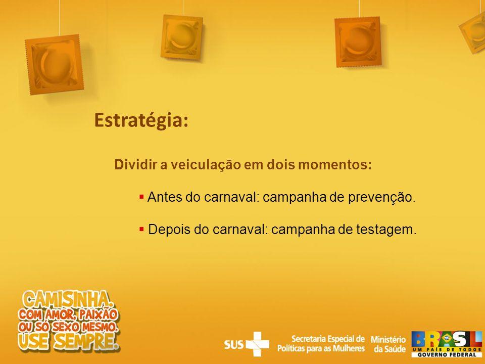 Estratégia: Dividir a veiculação em dois momentos: Antes do carnaval: campanha de prevenção. Depois do carnaval: campanha de testagem.