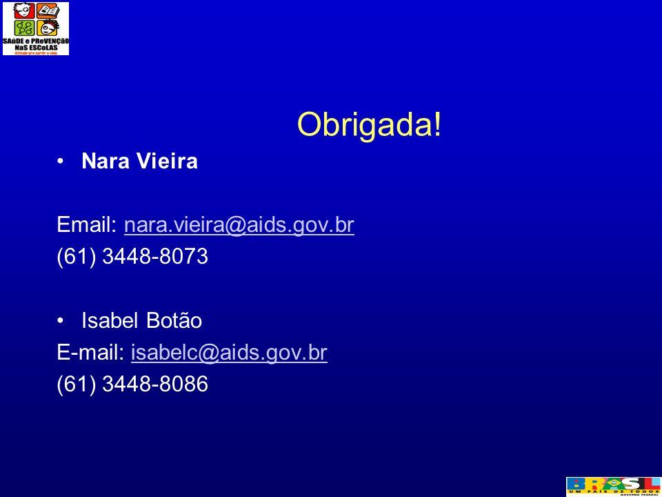 Obrigada! Nara Vieira Email: nara.vieira@aids.gov.brnara.vieira@aids.gov.br (61) 3448-8073 Isabel Botão E-mail: isabelc@aids.gov.brisabelc@aids.gov.br