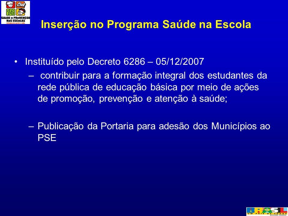 Inserção no Programa Saúde na Escola Instituído pelo Decreto 6286 – 05/12/2007 – contribuir para a formação integral dos estudantes da rede pública de