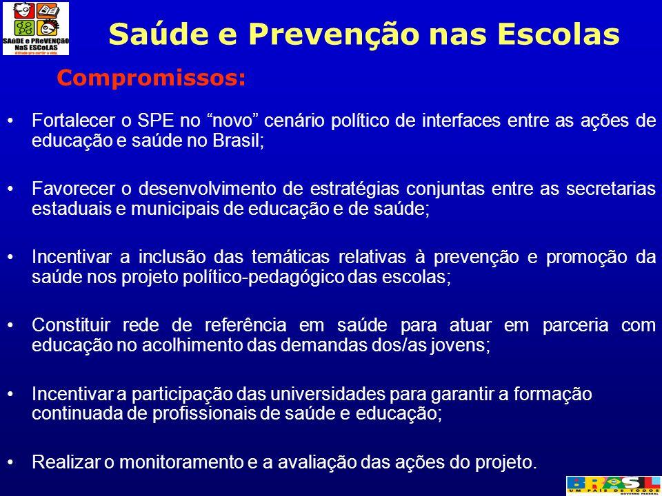 Compromissos: Fortalecer o SPE no novo cenário político de interfaces entre as ações de educação e saúde no Brasil; Favorecer o desenvolvimento de est