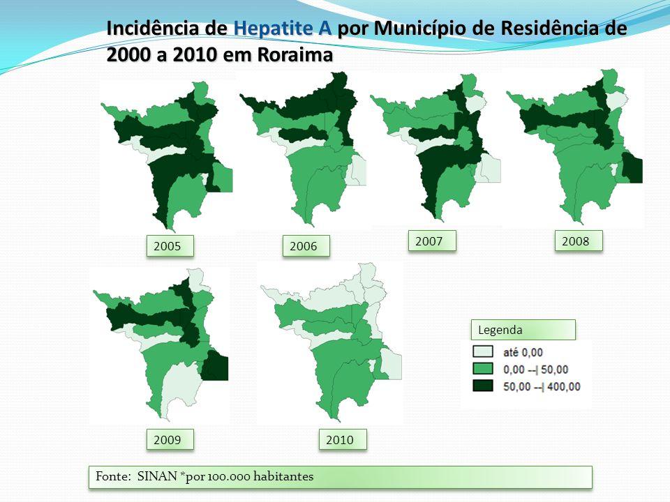 Fonte: SINAN *por 100.000 habitantes Legenda Incidência de Hepatite A por Município de Residência de 2000 a 2010 em Roraima 2006 2007 2008 2010 2005 2