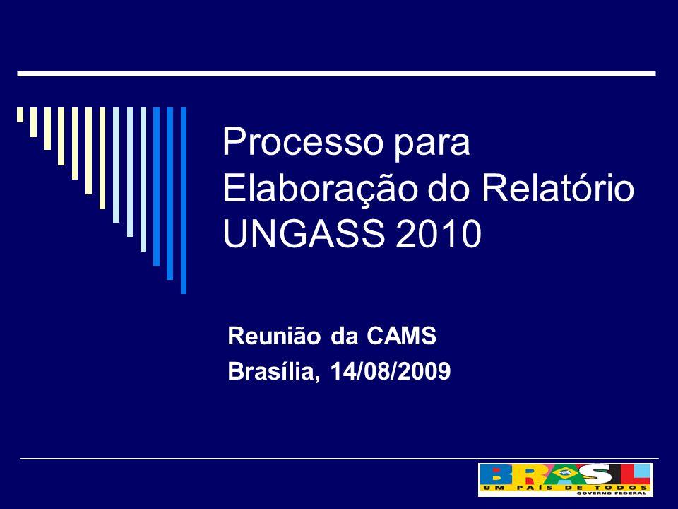 Processo para Elaboração do Relatório UNGASS 2010 Reunião da CAMS Brasília, 14/08/2009