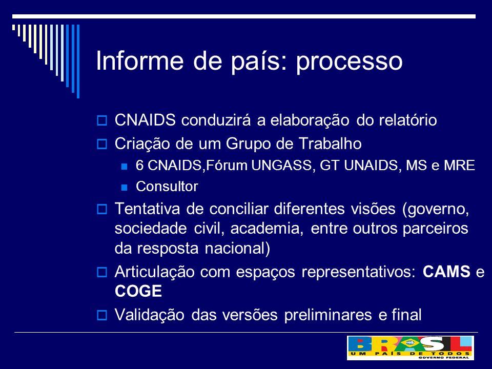 Informe de país: processo CNAIDS conduzirá a elaboração do relatório Criação de um Grupo de Trabalho 6 CNAIDS,Fórum UNGASS, GT UNAIDS, MS e MRE Consul