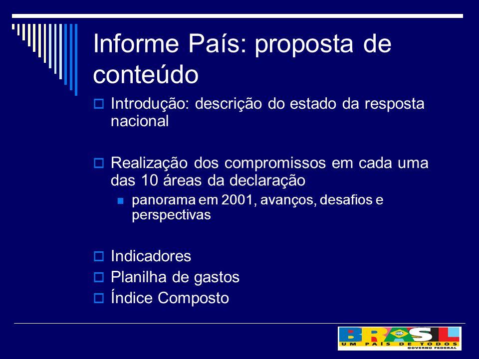 Informe País: proposta de conteúdo Introdução: descrição do estado da resposta nacional Realização dos compromissos em cada uma das 10 áreas da declar