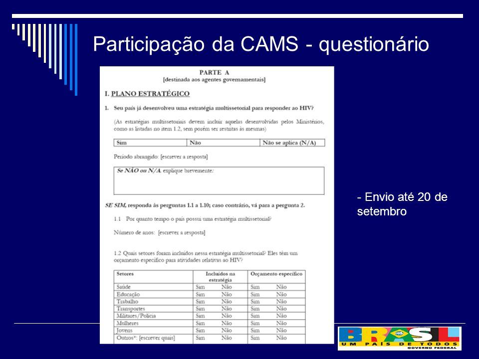 Participação da CAMS - questionário - Envio até 20 de setembro