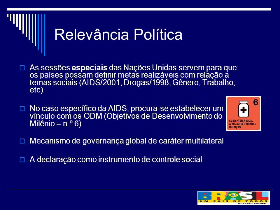 Relevância Política As sessões especiais das Nações Unidas servem para que os países possam definir metas realizáveis com relação a temas sociais (AIDS/2001, Drogas/1998, Gênero, Trabalho, etc) No caso específico da AIDS, procura-se estabelecer um vínculo com os ODM (Objetivos de Desenvolvimento do Milênio – n.º 6) Mecanismo de governança global de caráter multilateral A declaração como instrumento de controle social