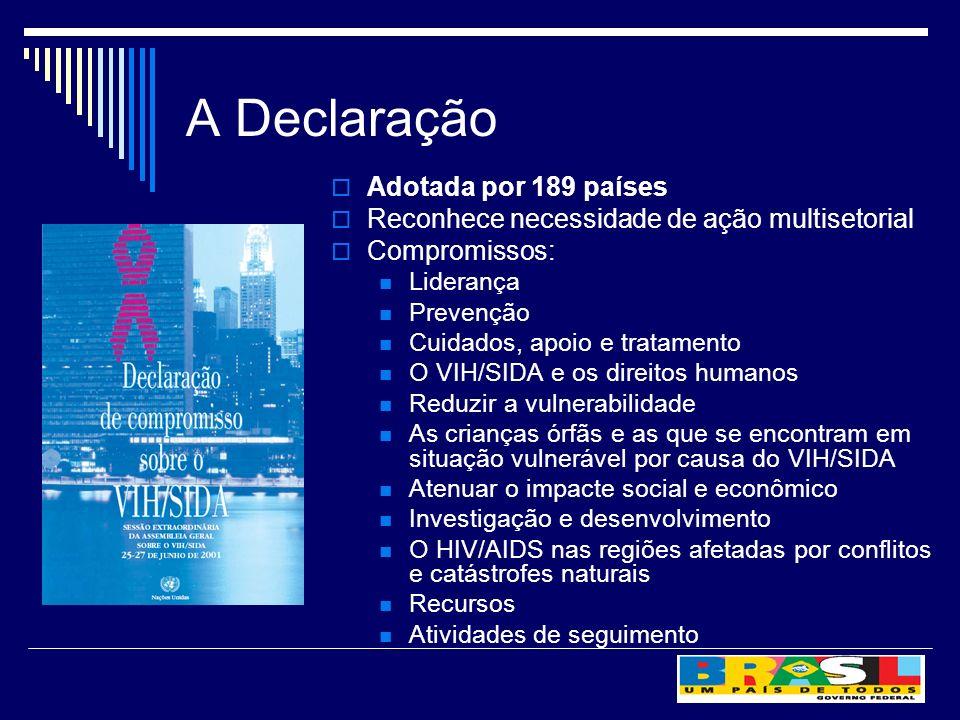 A Declaração Adotada por 189 países Reconhece necessidade de ação multisetorial Compromissos: Liderança Prevenção Cuidados, apoio e tratamento O VIH/S