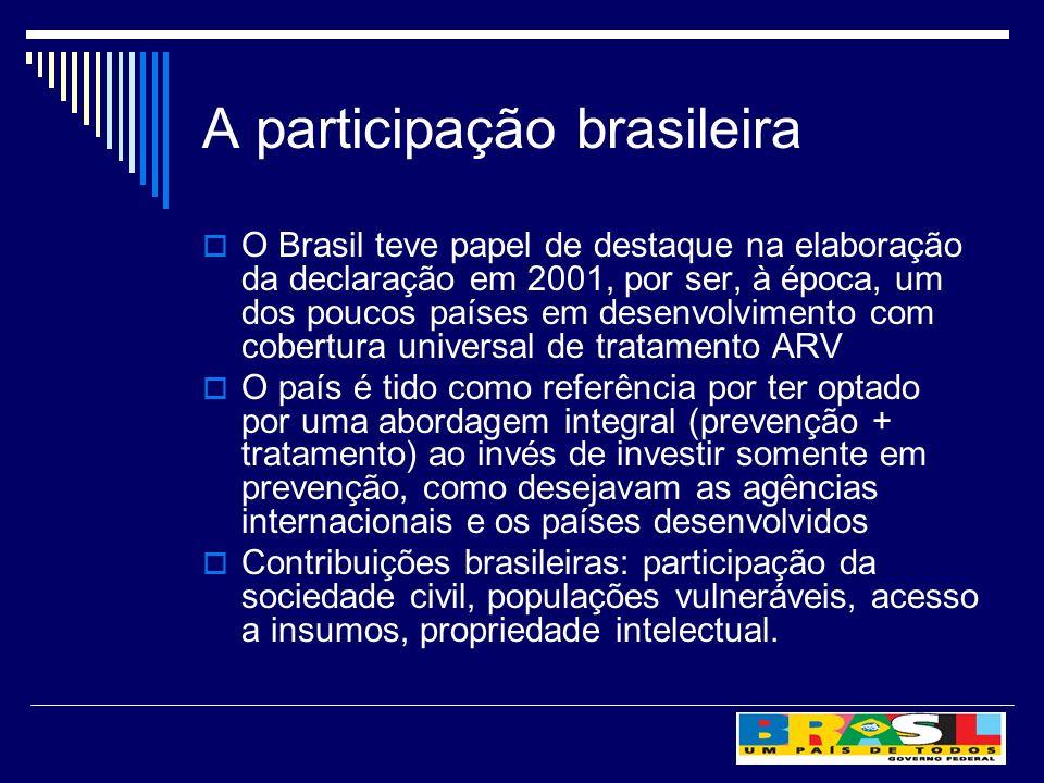 A participação brasileira O Brasil teve papel de destaque na elaboração da declaração em 2001, por ser, à época, um dos poucos países em desenvolvimen