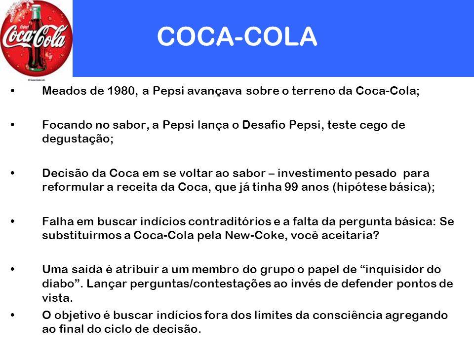 COCA-COLA Meados de 1980, a Pepsi avançava sobre o terreno da Coca-Cola; Focando no sabor, a Pepsi lança o Desafio Pepsi, teste cego de degustação; De