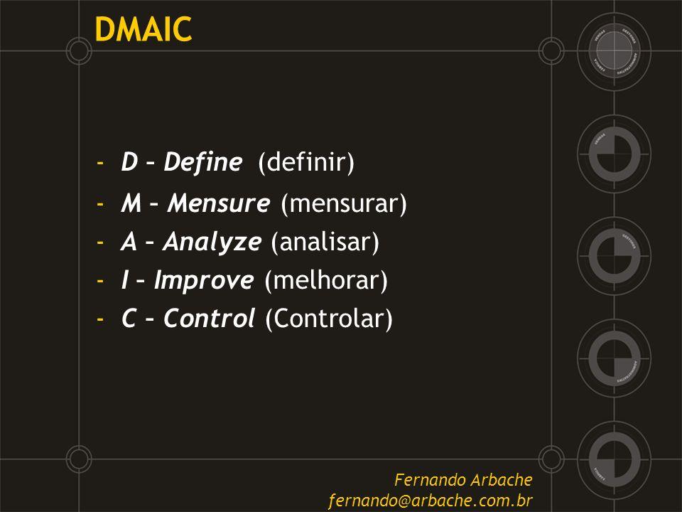 DMAIC -D – Define (definir) -M – Mensure (mensurar) -A – Analyze (analisar) -I – Improve (melhorar) -C – Control (Controlar) Fernando Arbache fernando