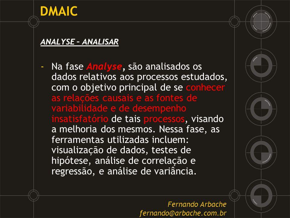 DMAIC ANALYSE – ANALISAR -Na fase Analyse, são analisados os dados relativos aos processos estudados, com o objetivo principal de se conhecer as relaç