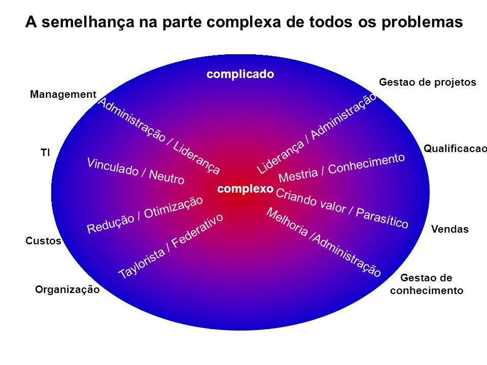 A semelhança na parte complexa de todos os problemas Taylorista / Federativo Management Vendas TI Custos Gestao de projetos Gestao de conhecimento Org