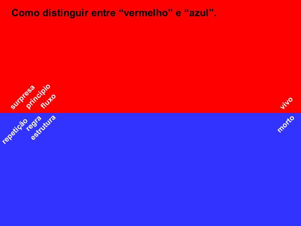 Como distinguir entre vermelho e azul. fluxo repetição morto vivo estrutura regra principio surpresa