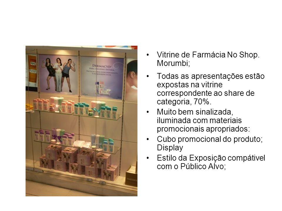 Outro modo de exposição do mesmo produto: Outra Rede de Farmácia Esta de acordo às estratégias de merchandising:ponto extra com os seguintes materiais: - Cubo; - Faixa de gôndola; - Woobler; - Stopper.
