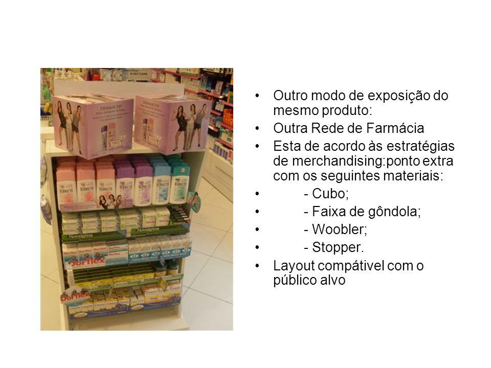 Exemplo de Cross Merchandising: Produto Dermacid Lenço Umedecido – embalagem pocket; exposto em Clip Strip junto a absorventes; Impulsiona as vendas Conquista espaço