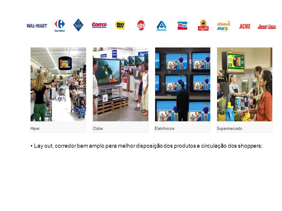 Lay out, corredor bem amplo para melhor disposição dos produtos e circulação dos shoppers; HiperClubeEletrônicosSupermercado