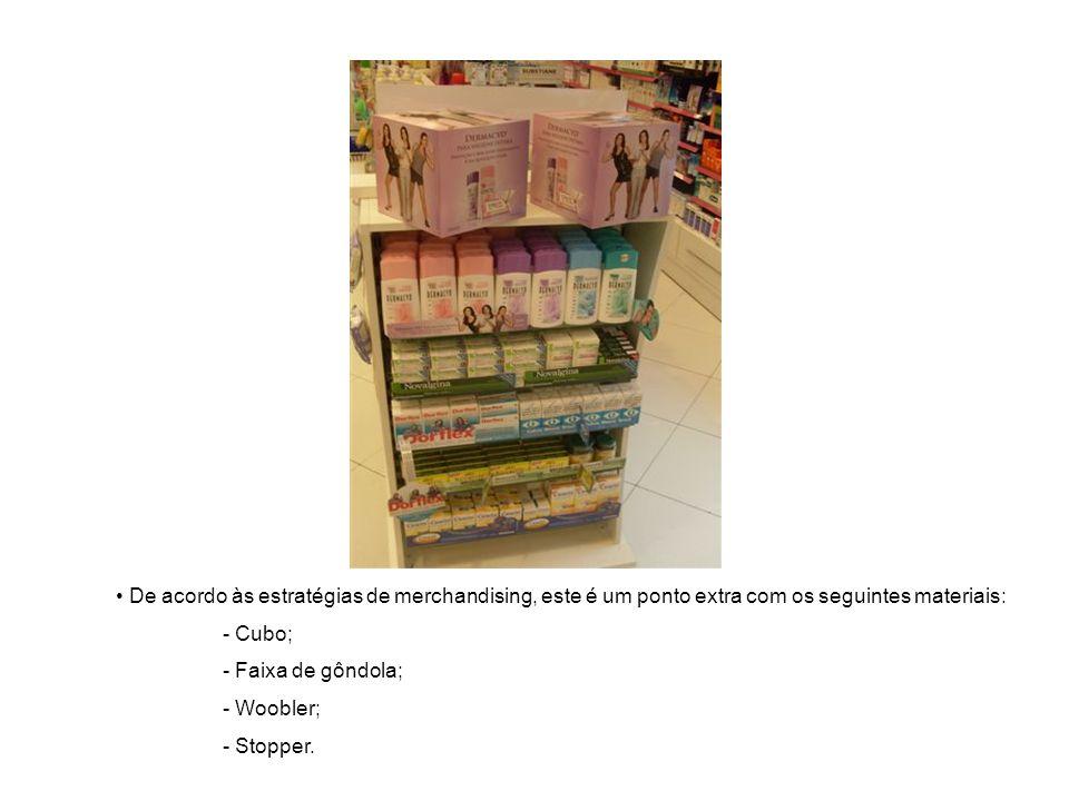 De acordo às estratégias de merchandising, este é um ponto extra com os seguintes materiais: - Cubo; - Faixa de gôndola; - Woobler; - Stopper.