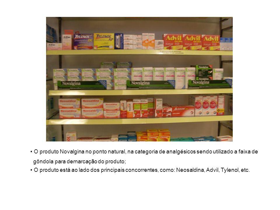 O produto Novalgina no ponto natural, na categoria de analgésicos sendo utilizado a faixa de gôndola para demarcação do produto; O produto está ao lad