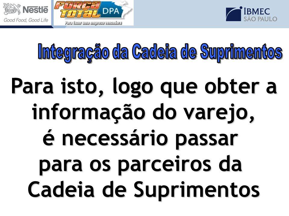 Para isto, logo que obter a informação do varejo, é necessário passar para os parceiros da Cadeia de Suprimentos