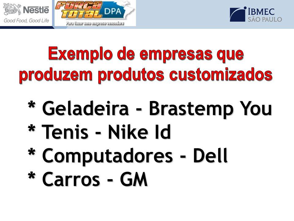 * Geladeira - Brastemp You * Tenis - Nike Id * Computadores - Dell * Carros - GM