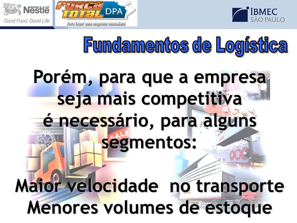Porém, para que a empresa seja mais competitiva é necessário, para alguns segmentos: Maior velocidade no transporte Menores volumes de estoque