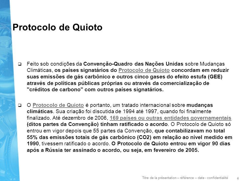 4 Titre de la présentation – référence – date - confidentialité Protocolo de Quioto Feito sob condições da Convenção-Quadro das Nações Unidas sobre Mu