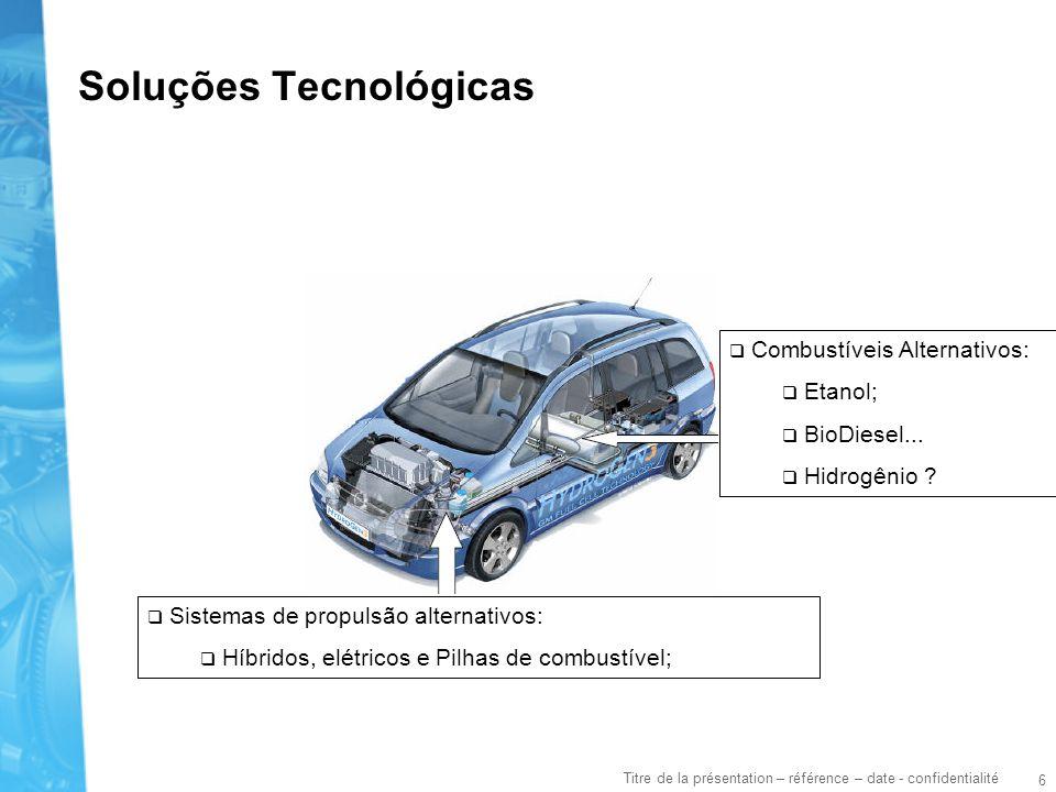 6 Titre de la présentation – référence – date - confidentialité Soluções Tecnológicas Sistemas de propulsão alternativos: Híbridos, elétricos e Pilhas