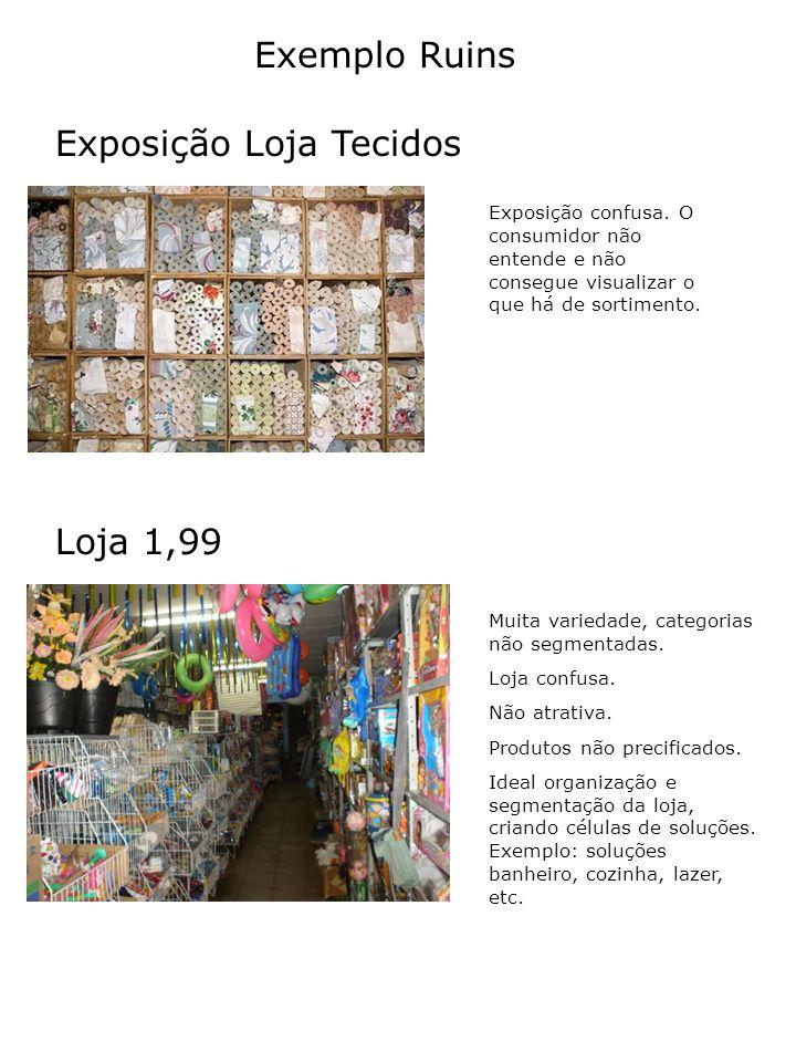 Exposição Loja Tecidos Exemplo Ruins Loja 1,99 Exposição confusa. O consumidor não entende e não consegue visualizar o que há de sortimento. Muita var