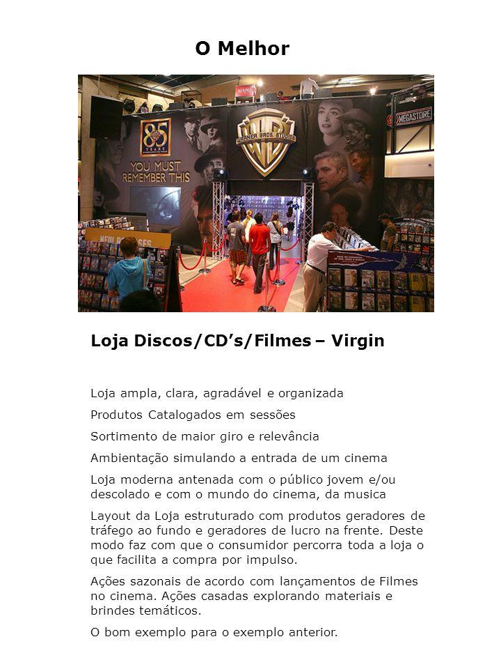 O Melhor Loja Discos/CDs/Filmes – Virgin Loja ampla, clara, agradável e organizada Produtos Catalogados em sessões Sortimento de maior giro e relevânc
