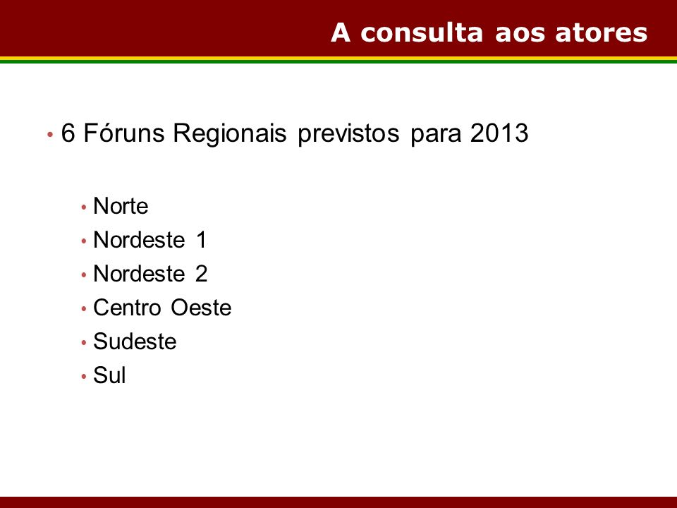 A consulta aos atores 6 Fóruns Regionais previstos para 2013 Norte Nordeste 1 Nordeste 2 Centro Oeste Sudeste Sul