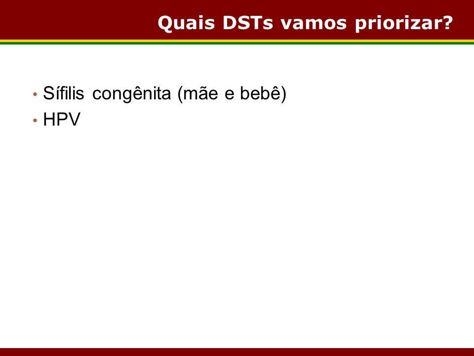Quais DSTs vamos priorizar? Sífilis congênita (mãe e bebê) HPV