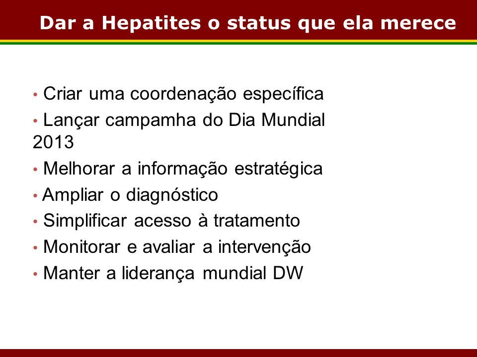 Dar a Hepatites o status que ela merece Criar uma coordenação específica Lançar campamha do Dia Mundial 2013 Melhorar a informação estratégica Ampliar o diagnóstico Simplificar acesso à tratamento Monitorar e avaliar a intervenção Manter a liderança mundial DW