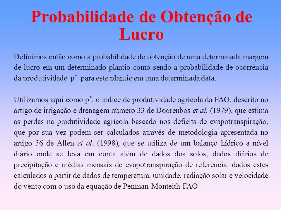 Probabilidade de Obtenção de Lucro Definimos então como a probabilidade de obtenção de uma determinada margem de lucro em um determinado plantio como sendo a probabilidade de ocorrência da produtividade p * para este plantio em uma determinada data.