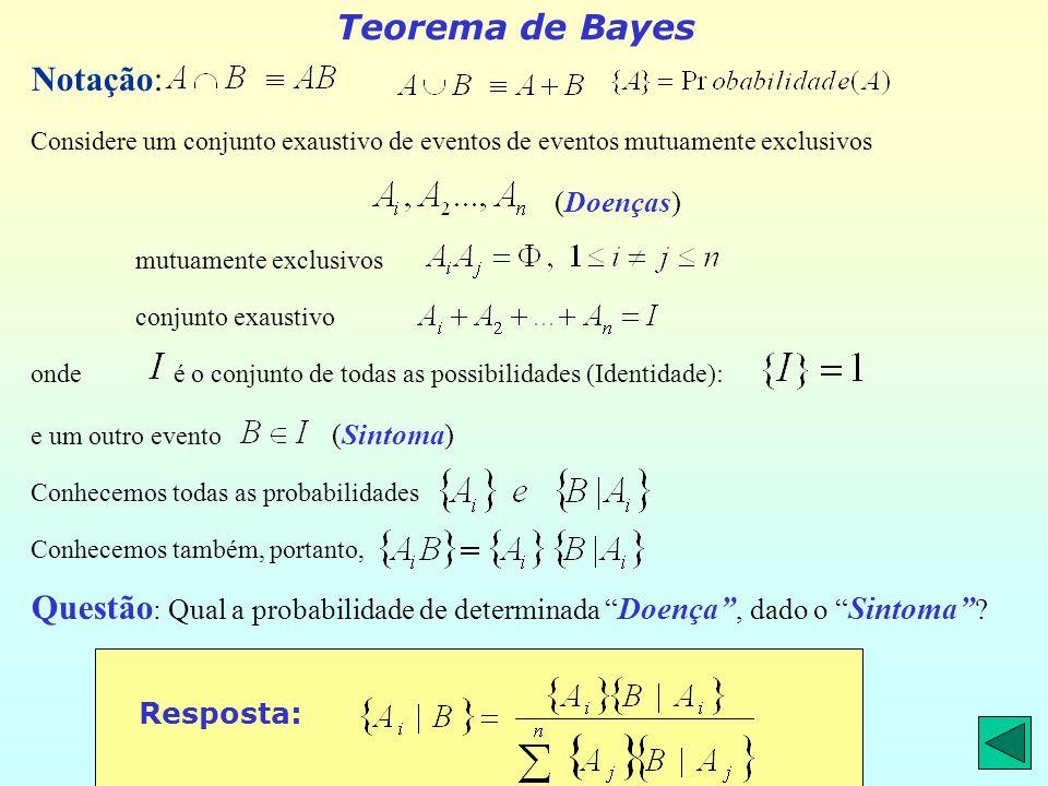 Teorema de Bayes Notação: Considere um conjunto exaustivo de eventos de eventos mutuamente exclusivos (Doenças) mutuamente exclusivos conjunto exaustivo onde é o conjunto de todas as possibilidades (Identidade): e um outro evento (Sintoma) Conhecemos todas as probabilidades Conhecemos também, portanto, Questão : Qual a probabilidade de determinada Doença, dado o Sintoma .