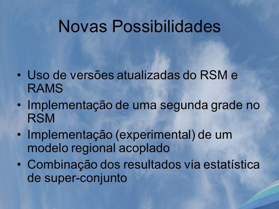 Novas Possibilidades Uso de versões atualizadas do RSM e RAMS Implementação de uma segunda grade no RSM Implementação (experimental) de um modelo regi