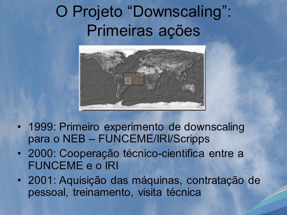 O Projeto Downscaling: Primeiras ações 1999: Primeiro experimento de downscaling para o NEB – FUNCEME/IRI/Scripps 2000: Cooperação técnico-cientifica