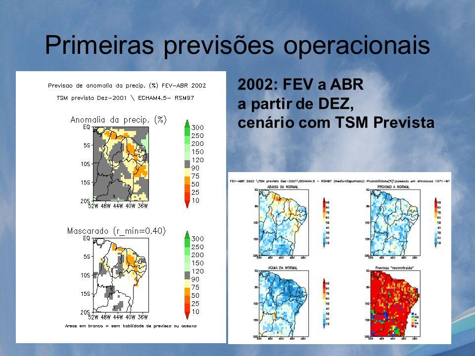 Primeiras previsões operacionais 2002: FEV a ABR a partir de DEZ, cenário com TSM Prevista