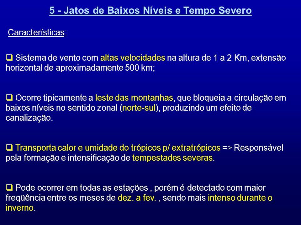 5 - Jatos de Baixos Níveis e Tempo Severo Características: Sistema de vento com altas velocidades na altura de 1 a 2 Km, extensão horizontal de aproxi