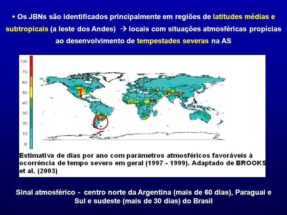 Os JBNs são identificados principalmente em regiões de latitudes médias e subtropicais (a leste dos Andes) locais com situações atmosféricas propícias